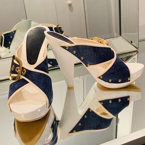 Giuseppe Zanotti White & Denim Buckle Heel Slides